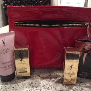 YSL red gloss bag with travel size